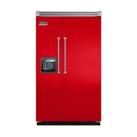 """Racing Red 48"""" Side-by-Side Refrigerator/Freezer with Dispenser - VISB (Integrated Installation)"""