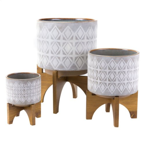 Planter With Wooden Base Md Gry & Wht