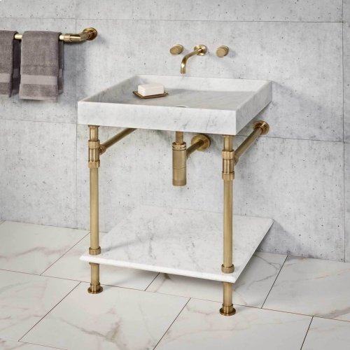 Ventus Bath Sink Carrara Marble / 36in / Polished Nickel