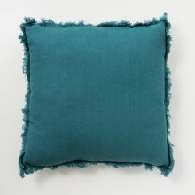 Frayed Linen Pillow - Deep Teal