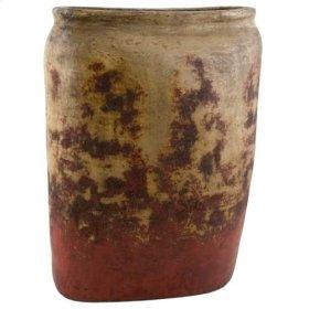 Textured Red Slim Floor Jar