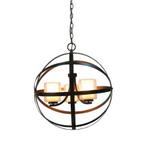 3-Light Modern Orb Chandelier in Oil Rubbed Bronze