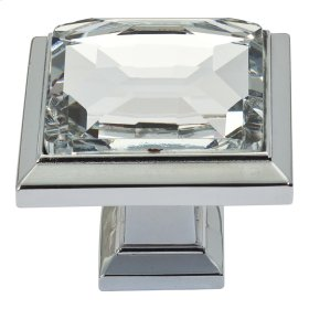 Legacy Crystal Square Knob 1 5/16 Inch - Polished Chrome