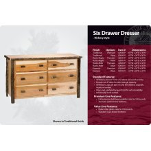 Hickory 6 Drawer Dresser