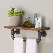 "Armen Living 24"" Jarrett Industrial Walnut Wood Floating Wall Shelf in Silver Finish"