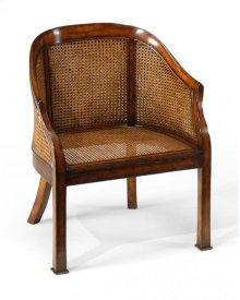 Caned Walnut Salon Tub Chair