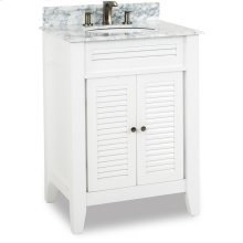 "26-1/2"" vanity with White finish, louvered doors, and clean lines with preassembled top and bowl."