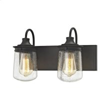 Hamel 2-Light Vanity in Oil Rubbed Bronze with Clear Seedy Glass
