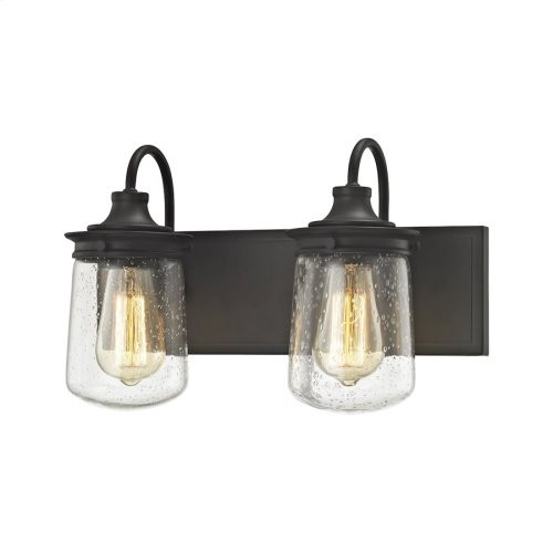 Hamel 2-Light Vanity Lamp in Oil Rubbed Bronze with Clear Seedy Glass