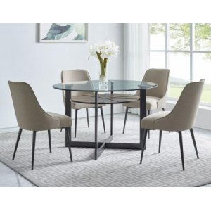 Steve Silver Co.Olson 5 Piece Set(Glass Top Table & 4 Side Chairs)