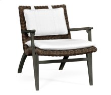 Grey & Rattan Lounge Chair, Upholstered in COM