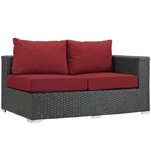 Sojourn Outdoor Patio Sunbrella® Right Arm Loveseat in Canvas Red