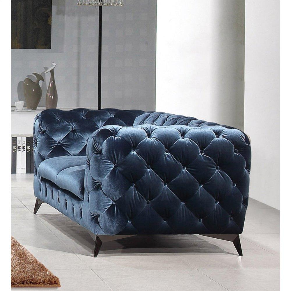 Divani Casa Delilah Modern Blue Fabric Loveseat
