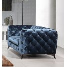 Divani Casa Delilah Modern Blue Fabric Loveseat Product Image