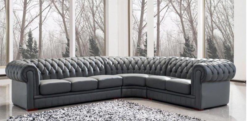 Divani Casa Paris 1 Transitional Tufted Leather Sectional Sofa
