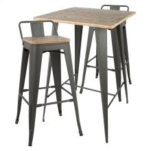 Oregon Low Back Pub Set - Grey Metal, Bamboo