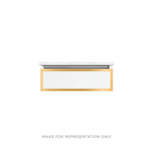 """Profiles 24-1/8"""" X 7-1/2"""" X 21-3/4"""" Framed Slim Drawer Vanity In White With Matte Gold Finish, Slow-close Full Drawer and Selectable Night Light In 2700k/4000k Color Temperature"""