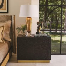 Forest Nightstand-Charcoal Leather