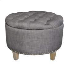 Grayson Button Tufted Grey Linen Ottoman