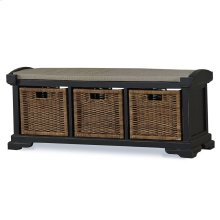 Homestead Bench w/ Rattan Baskets - BHD LN126