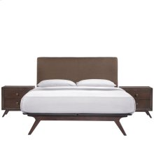 Tracy 3 Piece Queen Upholstered Fabric Wood Bedroom Set in Cappuccino Brown