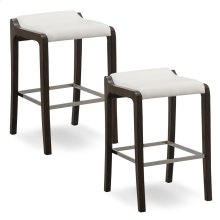 Buffed Pecan Wood Fastback Bar Height Stool with Ivory Faux Leather Seat #10117BP/IV - Set of 2