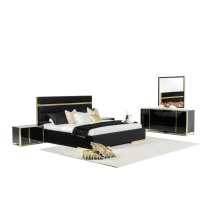 Nova Domus Montblanc Modern Black & Gold Bedroom Set