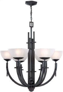 6-lite Chandelier, Dark Bronze W/frost Glass, Type G 40wx6
