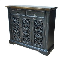 Nottingham 3 Pierced Door Distressed Black Cabinet