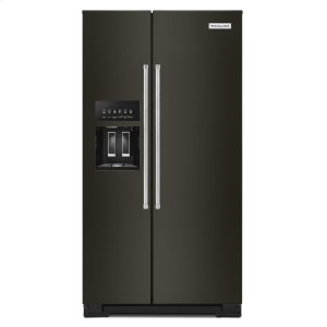 Kitchenaid19.9 cu ft. Counter-Depth Side-by-Side Refrigerator with Exterior Ice and Water and PrintShield finish - Black Stainless Steel with PrintShield™ Finish