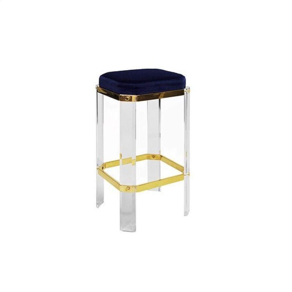 Acrylic Counter Stool With Brass Accents & Navy Velvet Cushion