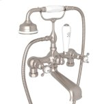 Satin Nickel Perrin & Rowe Exposed Tub Filler With Handshower With Edwardian Cross Handle