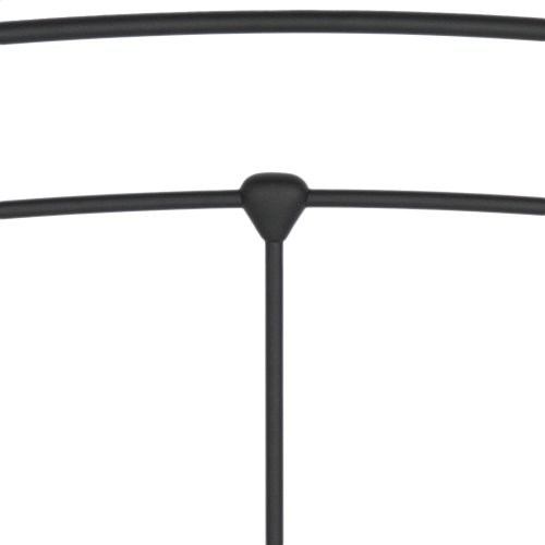 Sanford Metal Headboard Panel with Castings and Round Finial Posts, Matte Black Finish, Full