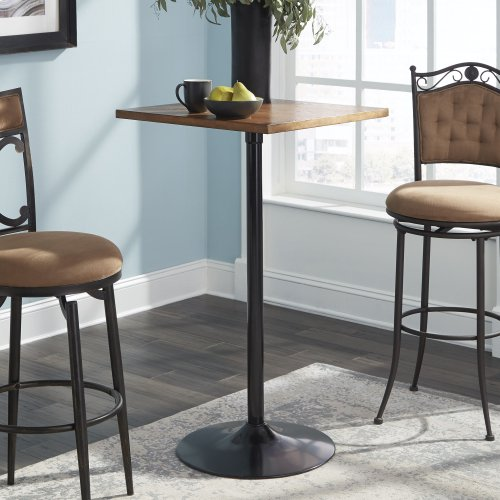 """Brookgate 24"""" Square Metal Pub Table with Wood Top and 42"""" Total Height, Acorn Finish"""