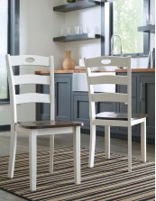 Woodanville - White/Brown Set Of 2 Dining Room Chairs