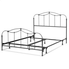 Braylen Complete Metal Bed and Steel Support Frame with Spindle Panels and Detailed Castings, Weathered Nickel Finish, Queen