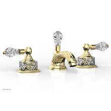 LOUIS XIV CUT CRYSTAL Widespread Faucet Cut Crystal Lever Handles K180 - Polished Brass