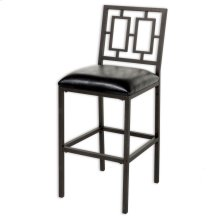 Lansing Metal Barstool with Black Upholstered Seat and Coffee Frame Finish, 26-Inch