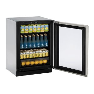 "U-LineModular 3000 Series 24"" Glass Door Refrigerator With Stainless Frame (lock) Finish and Left-hand Hinged Door Swing (115 Volts / 60 Hz)"