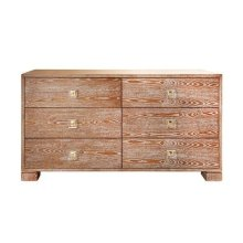Six Drawer Dresser With Brass and Acrylic Hardware In Dark Cerused Oak