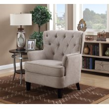 Calais Taupe Tufted Accent Arm Chair