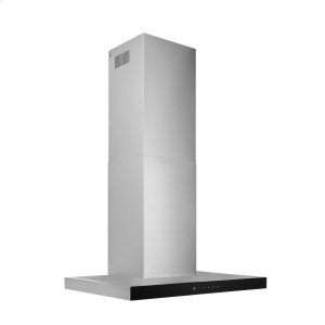 BroanBroan® 30-Inch Convertible Wall-Mount T-Style Chimney Range Hood, 450 MAX CFM, Stainless Steel with Black Glass