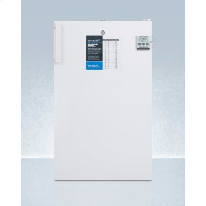 """SummitADA Compliant 20"""" Wide Refrigerator-freezer for Freestanding Use With Nist Calibrated Thermometer, Internal Fan, and Front Lock"""