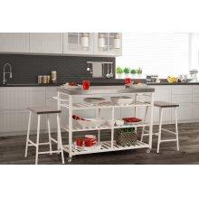 Kennon 3 Piece Kitchen Cart Set - Stainless Steel