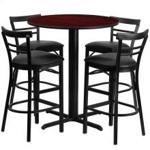 24'' Round Mahogany Laminate Table Set with 4 Ladder Back Metal Barstools - Black Vinyl Seat