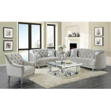 Avonlea Traditional Grey and Chrome Loveseat