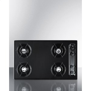 "Summit 30"" Wide Cooktop In Black, With Four Burners and Gas Spark Ignition; Replaces Ttl053"