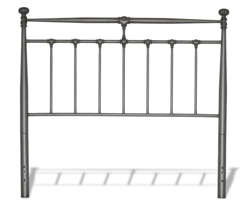 Kensington Metal Headboard with Stately Posts and Detailed Castings, Vintage Silver Finish, King