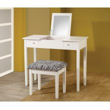 Casual White Vanity and Upholstered Stool