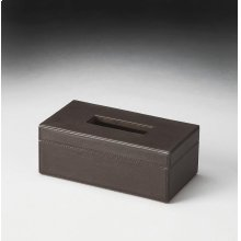 Meticulously upholsterd in richly textured, brown leather, this Tissue Box is as stylish as it is functional.